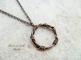 necklace wire images Barbed wire quot circle pendant wire wrapped copper necklace pillar jpg