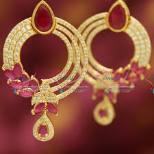 buy earrings online e3636 gold plated white ruby stylish grand design imitation big