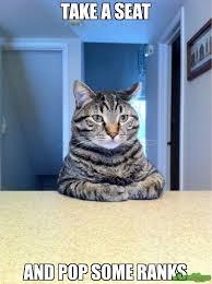 Take A Seat Meme - take a seat and pop some ranks meme take a seat cat 18237