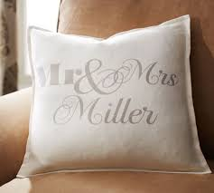 mr and mrs pillows personalized mr mrs pillow cover pottery barn