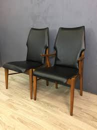 Retro Vinyl Dining Chairs Lane Walnut And Black Vinyl High Back Dining Chairs Retrocraft