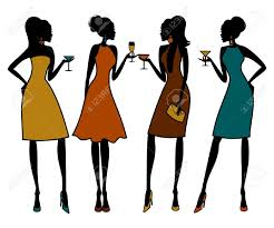 illustration of group of female friends having a cocktail party