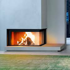 contemporary fireplace surround stone steel corner degas mcz