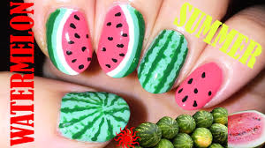 watermelon nail art step by step tutorial youtube