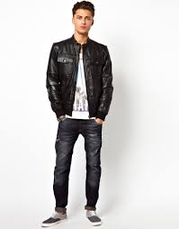 river island leather collarless jacket in black for men lyst