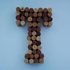 wine cork letter t made from real wine corks wine cork art