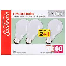 bulk sunbeam 60 watt rough service frosted white light bulbs 3 ct