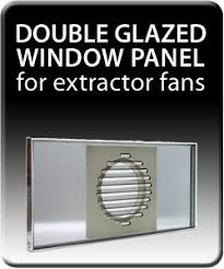 DOUBLE GLAZED WINDOW PANEL For Extractor Fans RHL Ventilation - Bathroom fan window