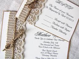 Lace Wedding Invitations Burlap Lace Wedding Invitations Tbrb Info