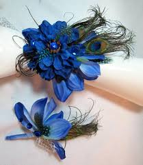 Royal Blue Corsage And Boutonniere 34 Best Peacock Floral Corsage Images On Pinterest Peacock