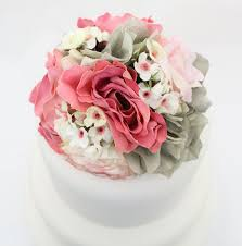 wedding cake topper pink rose gray hydrangea silk flower