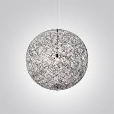 Linen Pendant Light Mini Black Linen Wire Globe Suspension Pendant Light