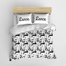 Personalized Comforter Set Black And White Safari Jungle Babies Minimalist Kids Bedding