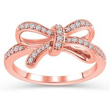rose rings images Diamond bow ring in rose gold 1 5ctw jewelry jpg
