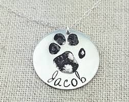 personalized paw print necklace custom paw print etsy
