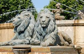 lion statues lion statues in aix en provence southern stock photo
