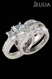 Jeulia Wedding Rings by Interchangeable Princess Cut Created White Sapphire Wedding Set