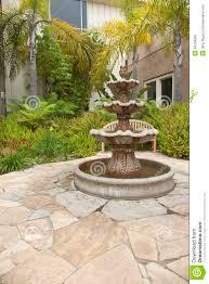 small backyard garden fountain san diego california stock photo