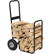 firewood cart log carrier fireplace wood mover hauler rack caddy