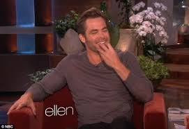 chris pine collapses into mortified giggles as ellen reveals his