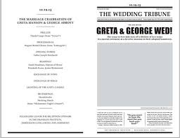 easy wedding program template the opposite of easy newspaper wedding programs