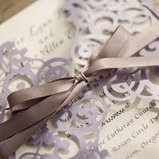 Wedding Programs With Ribbon Romantic Lavender Laser Cut Wedding Invitations With Grey Ribbon