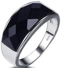 gem silver rings images Black agate gem stone 925 sterling silver ring for men souq uae jpg