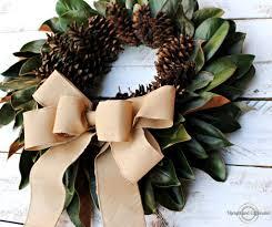 magnolia leaf wreath fall wreath magnolia leaves and pine cones upright and