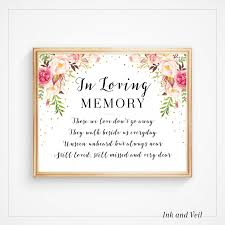 in loving memory wedding sign in loving memory wedding sign memorial sign wedding printable