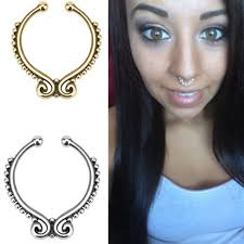 aliexpress nose rings images Surgical steel titanium gold silver plated fake septum ring nose jpg