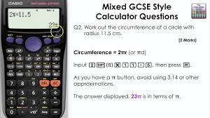 how to calculate the cirference of a circle casio calculator gcse maths fx 83gt plus fx85gt