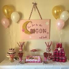 i you to the moon and back baby shower decorations pink