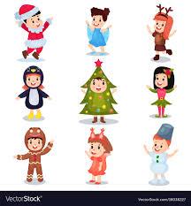 christmas costumes kids wearing christmas costumes set vector image