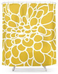 modern dahlia flower shower curtain mustard yellow contemporary