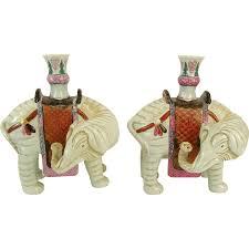 elephant vase ceramic pair signed vintage chinese style mottahedeh porcelain elephant