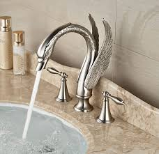rozin brushed nickel deck mount swan shape spout bathroom sink rozin brushed nickel deck mount swan shape spout bathroom sink faucet widespread double knobs mixer tap amazon com