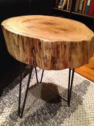 Red Oak Table by Wood Slab Log Side Table With Hairpin Legs Red Oak By Okmstumpt
