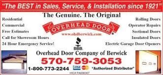 Overhead Door Hours Overhead Door Company Of Berwick Berwick Pa Garage Doors