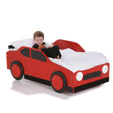 diy car shaped beds for boys toddlers painted with red and black ideas