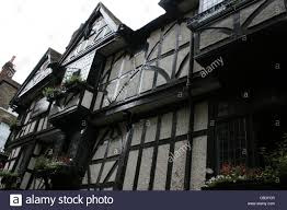 tudor style houses with window boxes stock photo royalty free