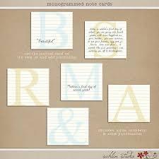 Monogrammed Scrapbook Monogrammed Note Cards Sahlin Studio Digital Scrapbooking Designs