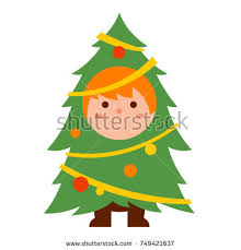 Christmas Tree Costume For Kids - cute kid cartoon design vector stock vector 607572758