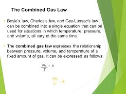 the combined gas law boyle s law charles s law and lussac s law