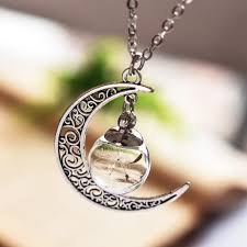 silver bottle necklace images Wish bottle necklace silver plated jewelry with crescent moon jpg