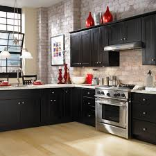 Black Cabinets Kitchen Brick Backsplash And Wall In The Kitchen I Wouldn U0027t Do Any Of The