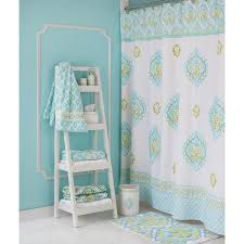 bathroom diamond ikat shower curtain with silver rain shower and