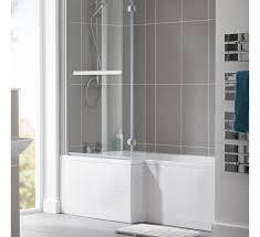 essential kensignton l shaped shower bath 1700 x 850 mm right