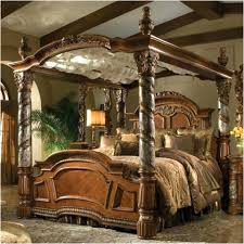 canopy style bed bedroom furniture brown polished wooden frame