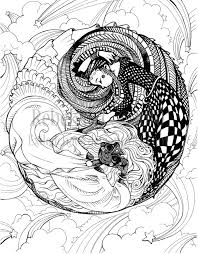 ying yang design coloring pages pin dragons eye fairy tail fanon