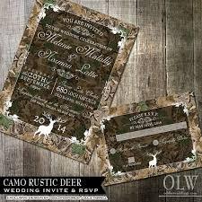 Camo Wedding Invitations Rustic Wedding Invitation And Rsvp Camo Wedding Invite Deer